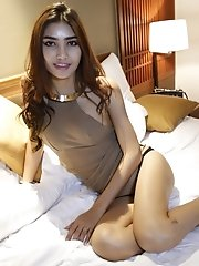 20 year old horny Thai ladyboy gets covered with cum from white cock