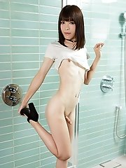 Skinny Japanese Shemale Yui Kawai Posing In Bathroom