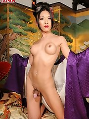 Japanese Tgirl Karina Shiratori Is A Lovely Geisha Girl Who Is Very Striking. She Disrobes And Shows Off Her Sexy Body, Perky Breasts And Hard Dick.