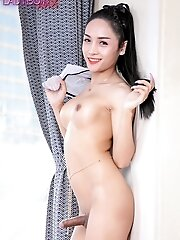 Rin's short tease will end soon because she can't take it any longer. She just have to cum. Watch ladyboy Rin delivers a very nice cumshot for yo
