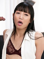 Cock Locked Japanese TGirl Kaoru Hanayama Horny Blowjob and Cum Swallow