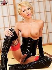 Japanese Tgirl Superstar Miran Is Ready To Discipline Naughty Boys Who Don't Worship Her As They Should, Now Get Down And Lick Her Boots.